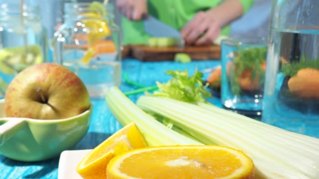 preparing cold drinks with fruits and vegetables - celery stock videos & royalty-free footage