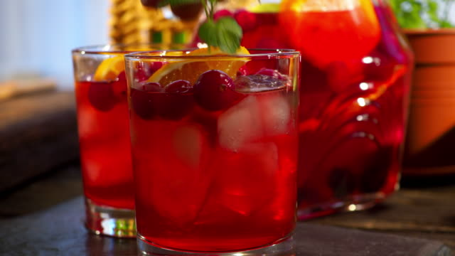 preparing cranberry sangria - mint leaf culinary stock videos and b-roll footage