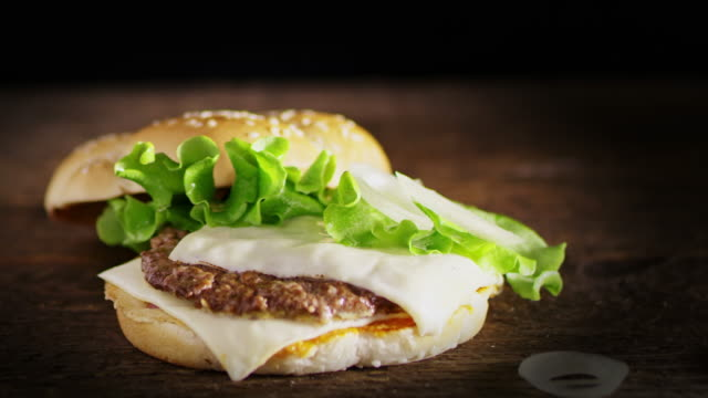 SLO MO DS Preparing delicious hamburger