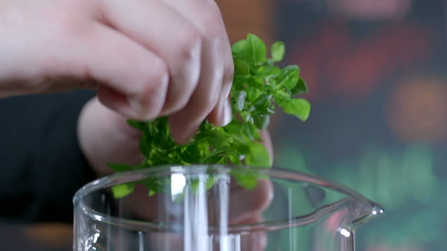 preparing detox water - basil stock videos & royalty-free footage