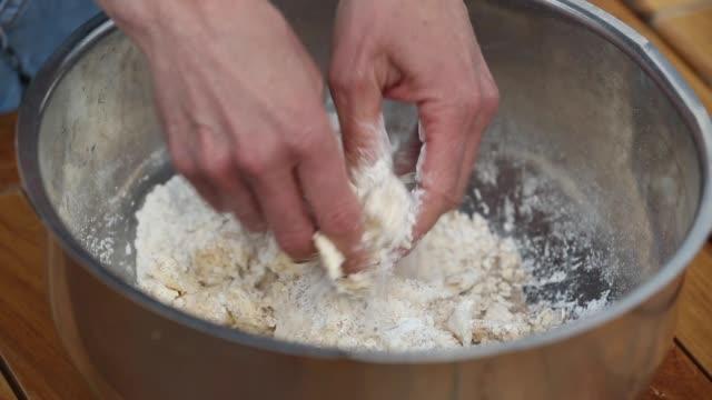 preparing dough base for custard cream cake - custard stock videos & royalty-free footage