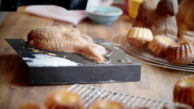Preparing Easter Bunny Cake in Domestic Kitchen
