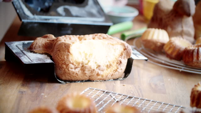 Preparing Easter Lamb Cake in Domestic Kitchen