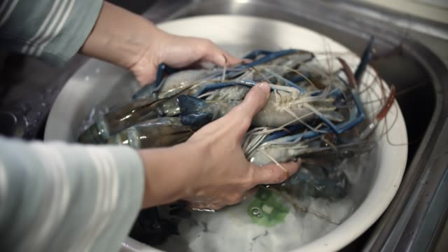 stockvideo's en b-roll-footage met cu: bereiden van voedsel, schoonmaken van garnaal - steurgarnaal