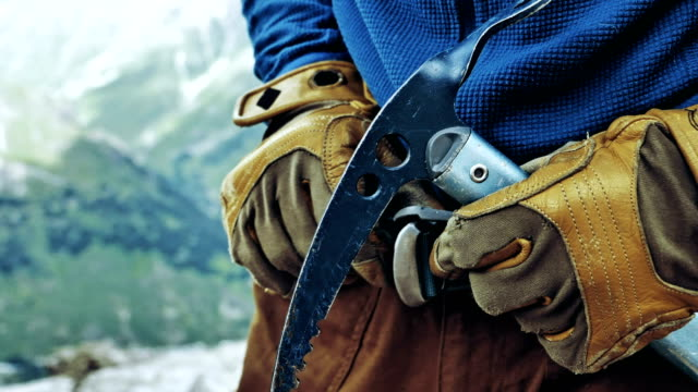 preparing for a climb. caucasus mountains. equipment details - climbing rope stock videos & royalty-free footage