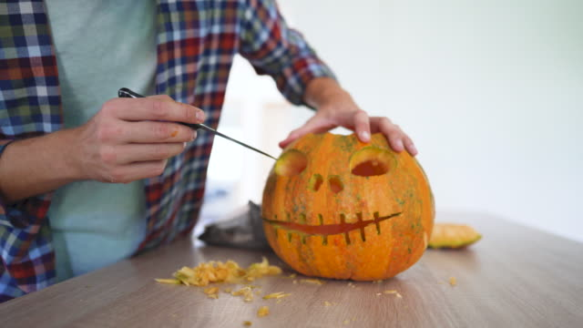 preparing for halloween - carving knife stock videos and b-roll footage