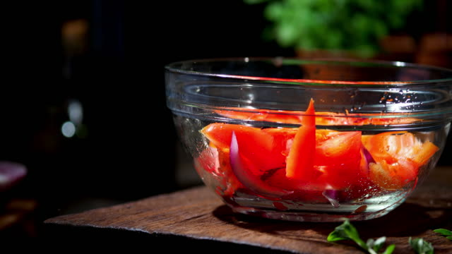 preparing fresh vegetable salad - salad bowl stock videos & royalty-free footage