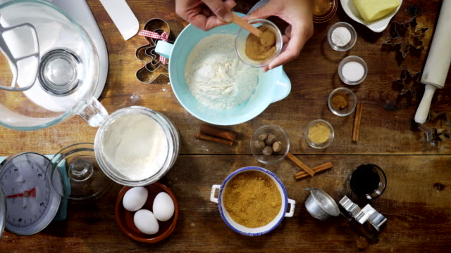 preparing gingerbread dough for christmas baking - biscuit stock videos & royalty-free footage