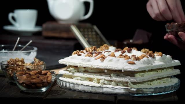 preparing homemade meringue cake - meringue stock videos & royalty-free footage