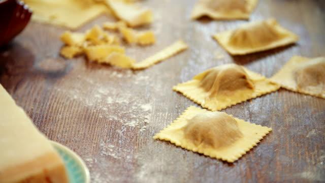 preparing homemade ravioli pasta - pasta machine stock videos and b-roll footage