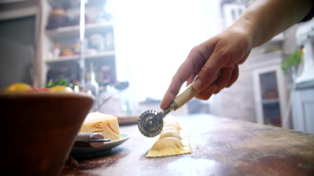 preparing homemade ravioli pasta - italian food stock videos and b-roll footage