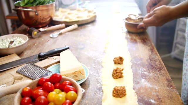 preparing homemade ravioli pasta - tagliatelle stock videos and b-roll footage