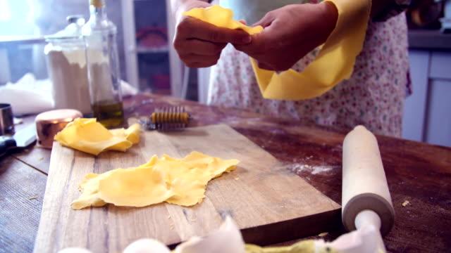preparing homemade tortellini pasta - pasta machine stock videos and b-roll footage