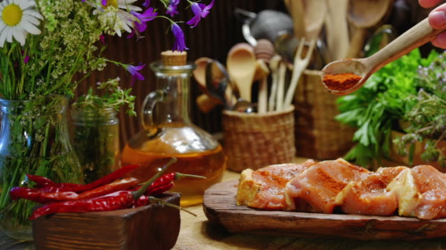 preparing meat for grilling - marinated stock videos & royalty-free footage