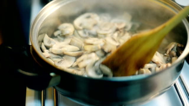 preparing mushroom meal - medium group of objects stock videos & royalty-free footage