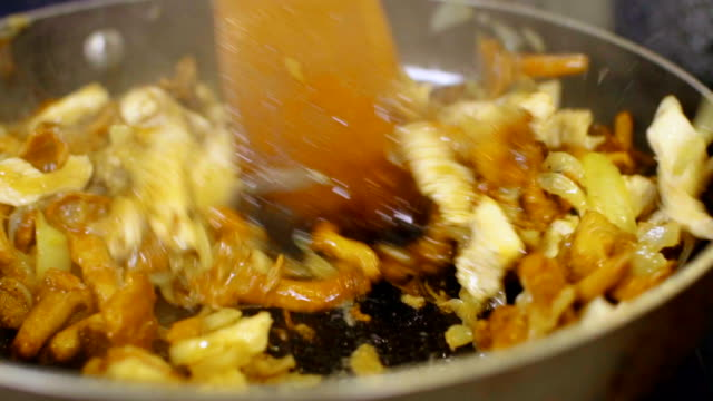 zubereitung von pilzen mit huhn - speisepilz pilz stock-videos und b-roll-filmmaterial