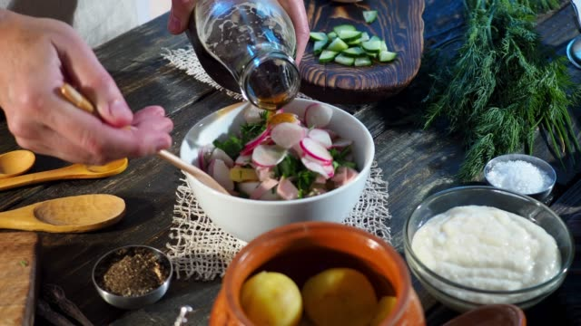 Preparing okroshka