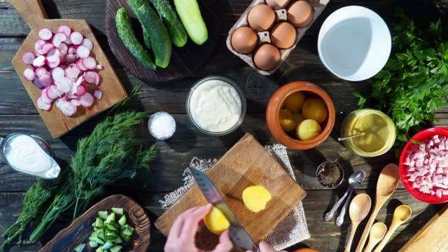 preparing okroshka - potato soup stock videos & royalty-free footage