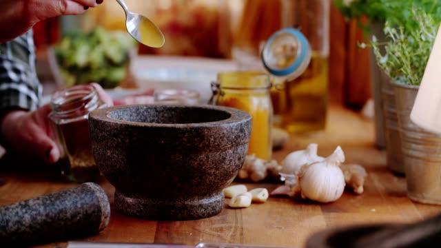 Preparing Oriental Spice Mix for Lamb Chops