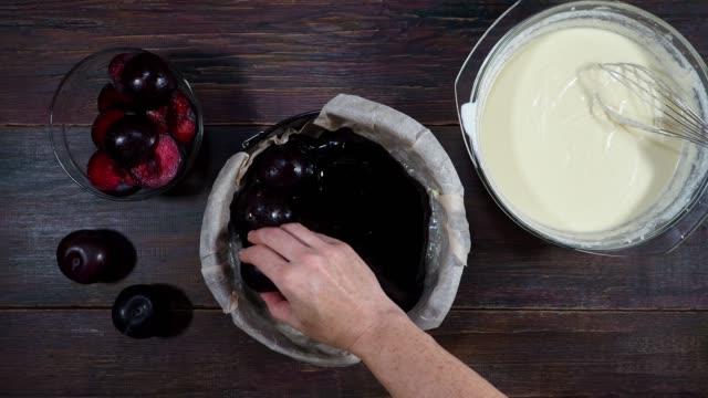 preparing plum pie - sweet food stock videos & royalty-free footage