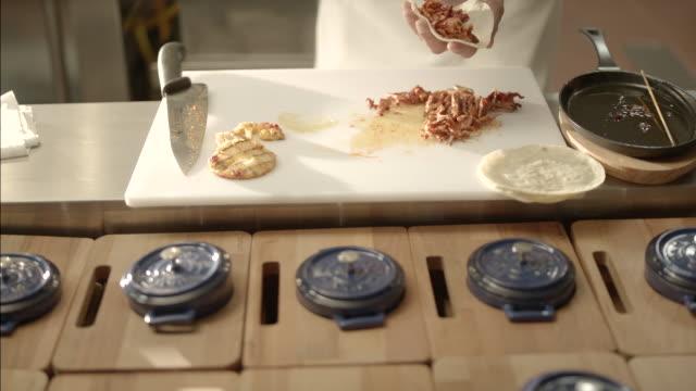preparing pork mexican tacos - pastor stock videos & royalty-free footage