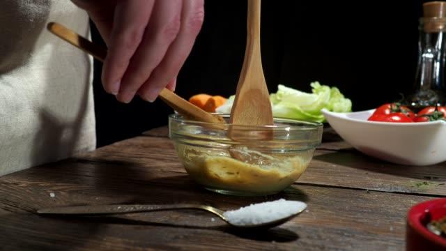 preparing salad dressing - salad oil stock videos & royalty-free footage