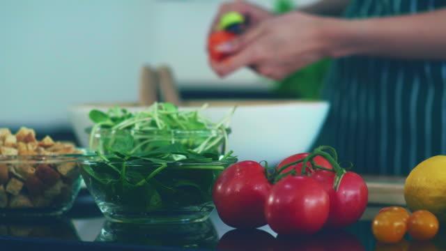 preparing salad in kitchen, healthy food - ingredient stock videos & royalty-free footage