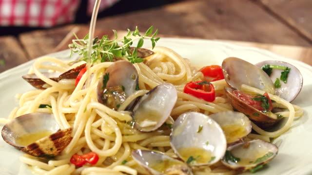 preparing spaghetti alla vongole - clam seafood stock videos and b-roll footage