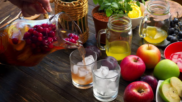 preparing sunny fruit sangria - pitcher jug stock videos & royalty-free footage