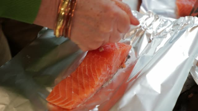 preparing the salmon - filleted stock videos & royalty-free footage