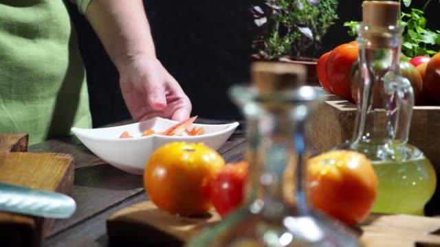 preparing tomato salad - tomato salad stock videos & royalty-free footage