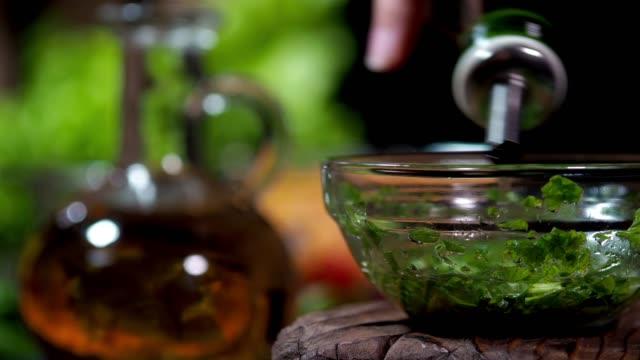 preparing vegan lentil salad - salad oil stock videos & royalty-free footage