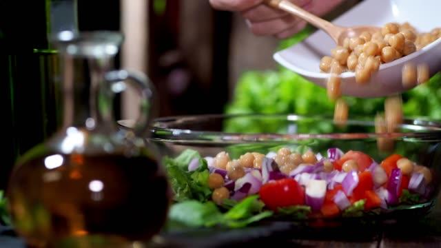 preparing vegan lentil salad - red bell pepper stock videos & royalty-free footage