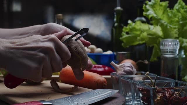 preparing vegetable soup - potato soup stock videos & royalty-free footage