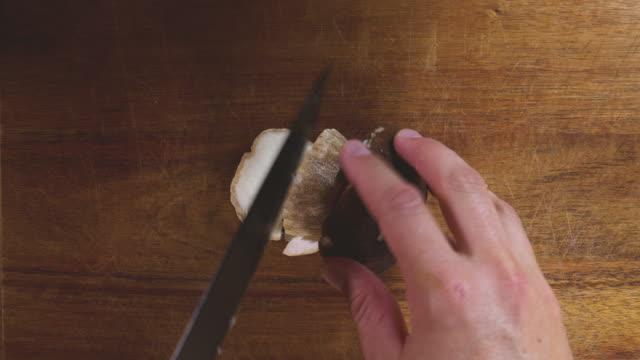 preparing wild mushrooms for cooking - mushroom stock videos & royalty-free footage