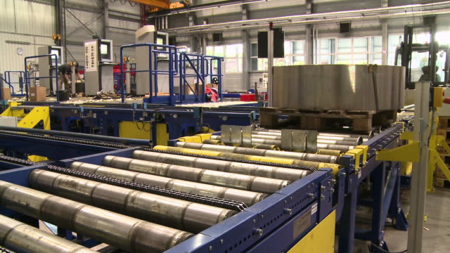 ms pan preparing workpieces for high bay racking at steel factory / remscheid, north rhine westphalia, germany   - rolling stock videos & royalty-free footage