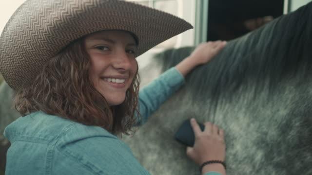 vídeos de stock, filmes e b-roll de preparar os cavalos em utah - animal de fazenda