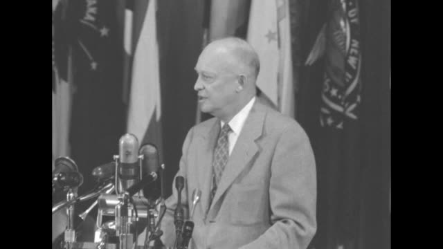 sot pres dwight eisenhower in speech at the governors conference when the united states votes $400 million to help that war we are not voting for a... - indocina video stock e b–roll