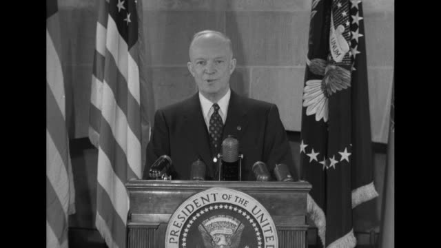 vídeos de stock, filmes e b-roll de pres dwight eisenhower stands at podium with microphones on it and speaks to camera thanking viewers for their prayers and speaking about blessings... - dwight eisenhower