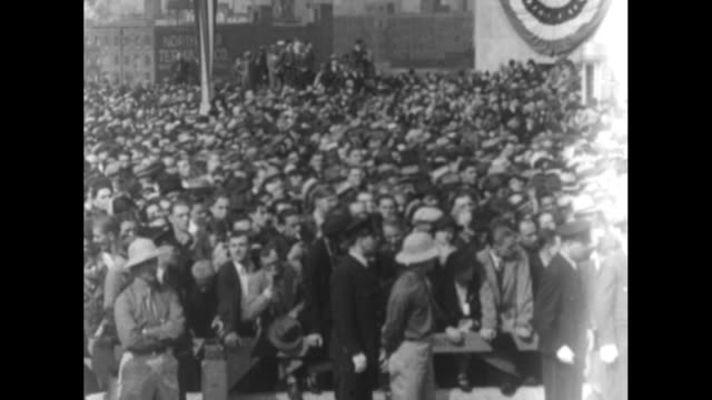 SOT Pres Franklin Roosevelt [interspersed by crowd shots] 'America hates war America hopes for peace Therefore America actively engages in the search...