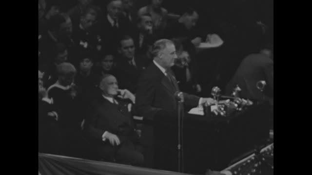 sot pres franklin roosevelt standing at podium at madison square garden walk humbly with thy god that is why the recovery we seek the recovery we are... - humility stock videos and b-roll footage