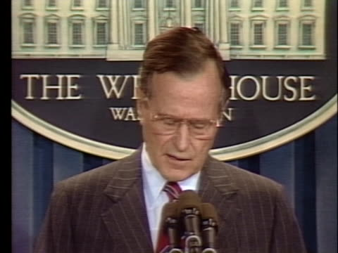 vídeos y material grabado en eventos de stock de pres. george h. w. bush comments on his veto allowing chinese students to stay in the united states. - venganza