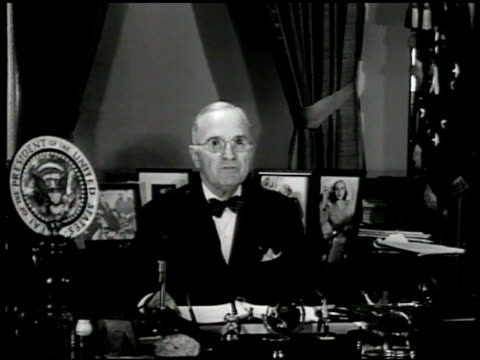 Pres Harry S Truman at desk Oval Office 'all of us must give up some of the things we would ordinary expect for ourselves our families' Korean War...