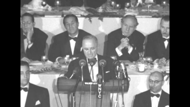 SOT Pres Harry S Truman at the Waldorf Astoria Hotel for a Columbus Day dinner 'on the 20th day of next January I expect to welcome a new man to this...