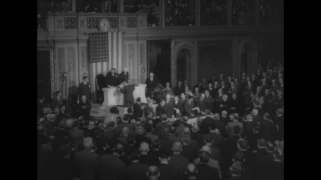 pres harry truman enters house of representatives chamber and speaks to the assembly - joint session of congress stock videos and b-roll footage