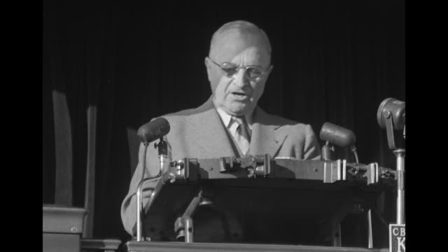 "pres. harry truman: ""...i want to ask you to vote for adlai stevenson for president. he is extraordinarily well qualified for that great and... - harry truman stock videos & royalty-free footage"