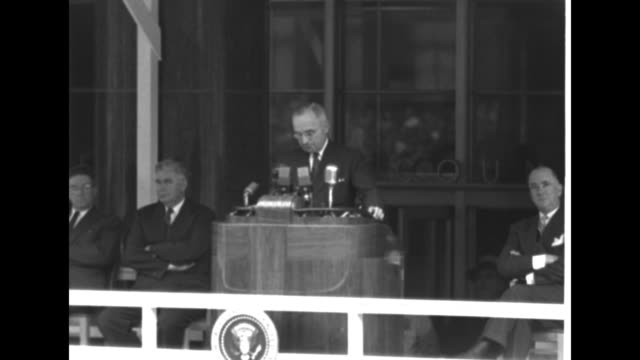 """pres. harry truman: """"in the first place, most of the money is used to provide for the national security. in the current fiscal year, national... - ハリー トルーマン点の映像素材/bロール"""