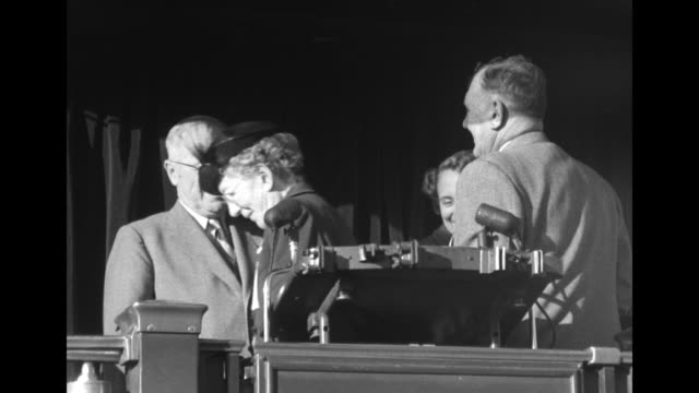 stockvideo's en b-roll-footage met vs pres harry truman stands with daughter margaret on platform at rear of a train they shake hands with wellwishers - margaret truman