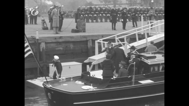 us pres herbert hoover and first lady lou hoover arrive at dock on a motor launch they disembark walk up ramp arriving at the washington navy yard... - uss constitution stock videos and b-roll footage