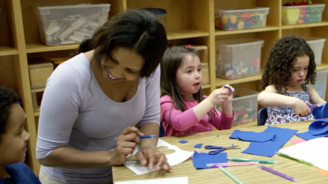 preschool art time - child care stock videos & royalty-free footage